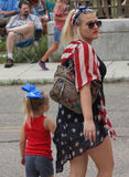 Mother and Daughter 4th of July Stock Photo