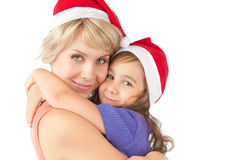 Mother and daughter together in christmas hats Stock Photography
