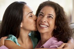 Mother And Daughter Together At Home Royalty Free Stock Photography