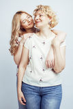 Mother with daughter together posing happy smiling isolated on white background with copyspace, lifestyle people concept Stock Photography