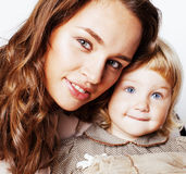 Mother with daughter together on white background happy smiling, Stock Photos