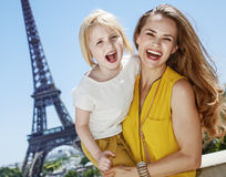 Mother and daughter tourists having fun time in Paris, France Royalty Free Stock Images