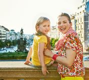 Mother and daughter tourists on Vaclavske namesti in Prague Royalty Free Stock Photo