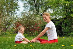 Mother and daughter - training Stock Images