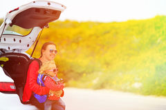 Mother and daughter travel by car Royalty Free Stock Photos
