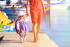 Mother and daughter travel in Malta Stock Photos