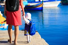 Mother and daughter travel in Malta Stock Images