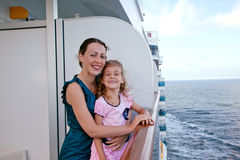 Mother and daughter traveling on cruise ship Royalty Free Stock Photo