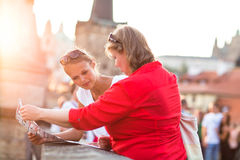 Mother and daughter traveling Stock Photo
