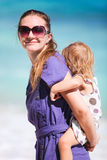 Mother and daughter on tropical vacation Stock Photo