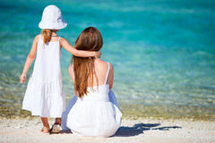 Mother and daughter on tropical vacation Stock Image