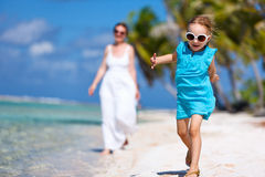 Mother and daughter on a tropical vacation Royalty Free Stock Image