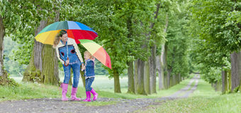 Mother and daughter with umbrellas Stock Photography