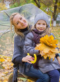 Mother with daughter under umbrella Stock Image
