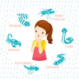 Girl With Icons Set Of Animals In Rainy Season vector illustration