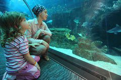 Mother and daughter in underwater aquarium tunn. Mother and daughter sitting on floor in underwater aquarium tunnel, wide angle royalty free stock image