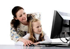 mother and daughter using computer Stock Image