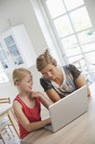 Mother And Daughter Using Laptop Royalty Free Stock Images