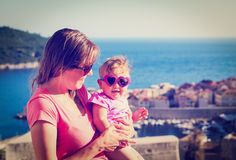 Mother and daughter on vacation in croatia Royalty Free Stock Photos