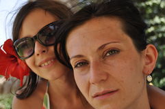 Mother and daughter. Vacation in the tropics. Tunisia, traveling Royalty Free Stock Images