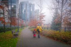 Mother and daughter on Vancouver's walk way Stock Photo