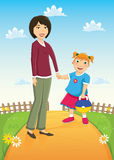 Mother and Daughter Vector Illustration Royalty Free Stock Image