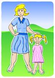 Mother and daughter. Vector illustration of a mother with her little daughter stock illustration