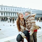 Mother and daughter in Venice, Italy having fun time Stock Photography