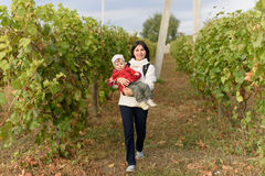Mother and Daughter in Vineyard Royalty Free Stock Images