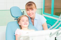 Mother and daughter visit the dentist Stock Photography