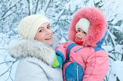 Mother with a daughter on walk. Stock Photo