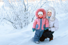 Mother with a daughter on walk. Royalty Free Stock Photos