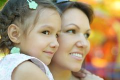 Mother with daughter walk in summer Royalty Free Stock Photo