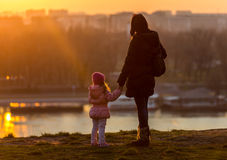 Mother and Daughter. Walk on a sunny winter day Stock Images