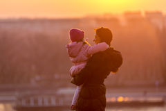 Mother and Daughter. Walk on a sunny winter day Royalty Free Stock Photography