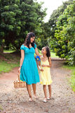 Mother and daughter walking Royalty Free Stock Photos