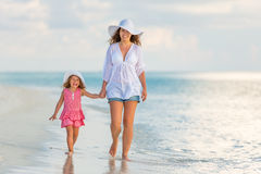 Mother and daughter walking on the beach Royalty Free Stock Photo