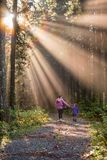 Mother and Daughter Walking in a Forest Royalty Free Stock Photography