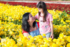 Mother and daughter walking in the Israel Field. royalty free stock images