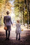 Mother with daughter walking in the park in autumn holding hands. Yellow leaves on tress. Back view Stock Photos