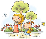 Mother and daughter walking in the park royalty free illustration