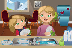Mother Daughter Washing Dishes Stock Images