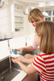 Mother And Daughter Washing Hands At Kitchen Sink Royalty Free Stock Photos
