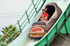 Mother and Daughter on Water Ride Stock Images