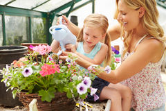 Mother And Daughter Watering Plants In Greenhouse Stock Photography