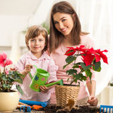 Mother and Daughter Watering Plants Royalty Free Stock Photos