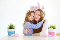 Mother and daughter wearing bunny ears on Easter Stock Image