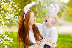 Mother and daughter wearing bunny ears on Easter Royalty Free Stock Image