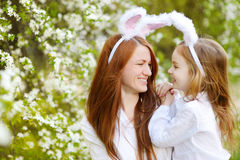 Mother and daughter wearing bunny ears on Easter Royalty Free Stock Photo