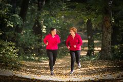 Mother and daughter wearing sportswear and running in forest stock images